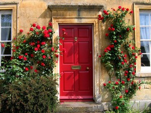 red painted front door and meaning