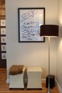 living room Cy Twombly floor lamp leather stool