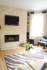 living room fireplace travertine facade design tv