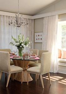 chandelier and table